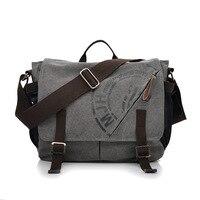 Manjianghong Men Leisure Canvas Messenger Bag Male Vintage Student Laptop Crossbody School Bag Retro Classic Business Handbags