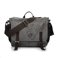 Manjianghong Men Leisure Canvas Messenger Bag Male Vintage Student Laptop Crossbody School Bag Retro Classic Business Handbags