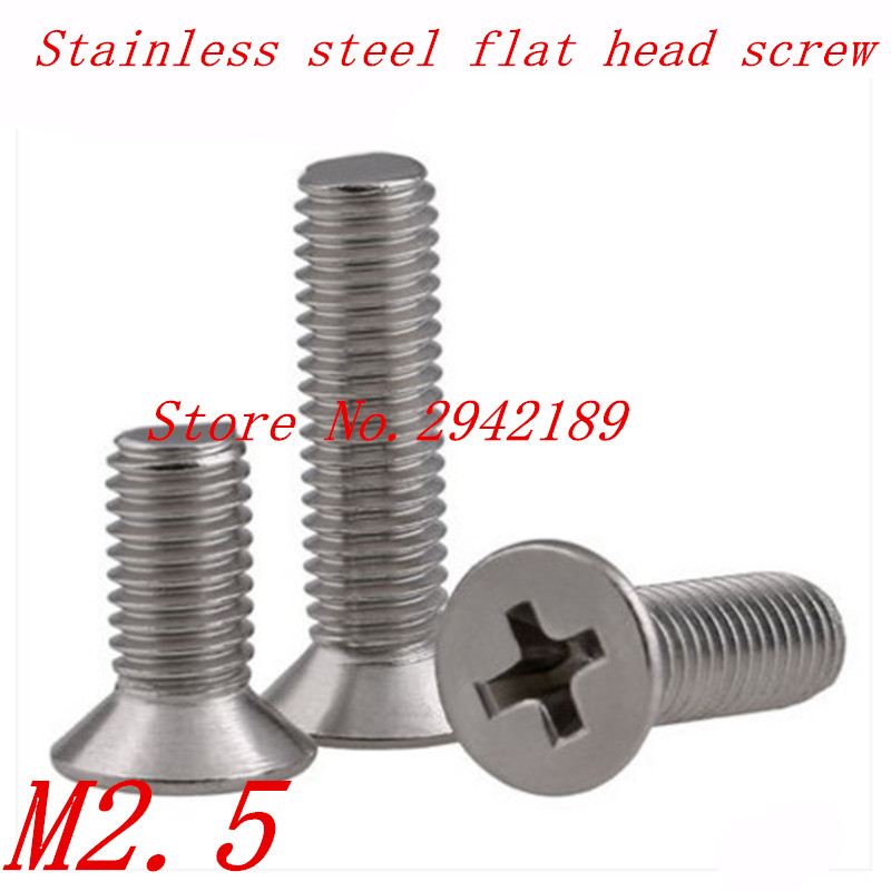 50pcs M2.5*4/5/6/8/10/12/16/20 2.5mm A2 Stainless Steel flat counetersunk head machine screw