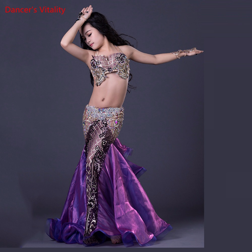 2018 NEW Luxury Belly Dance Costumes For Kids / Boys / Girls Sexy Handmade Belly Dance Pad + Skirt Suits Clothes For Stage