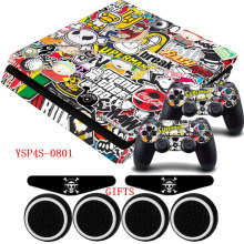 Фотография For PS4 Slim Playstation 4 Slim Vinyl Waterproof Sticker Decal Skin+2x LED Bar Light Stickers+4x Caps For Dualshock Controller