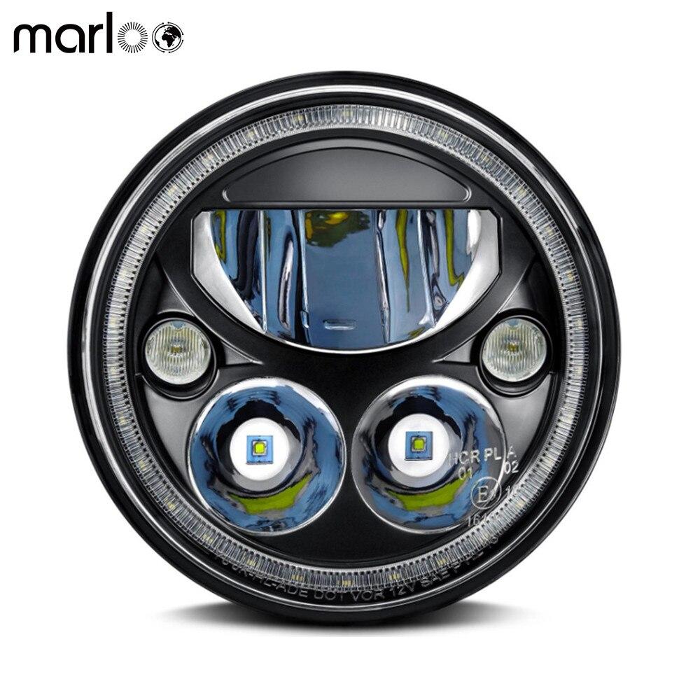 Marloo 5 3/4 5.75 Inch Sealed LED Headlights For Harley Davidson Vortex Halo Projector Headlight