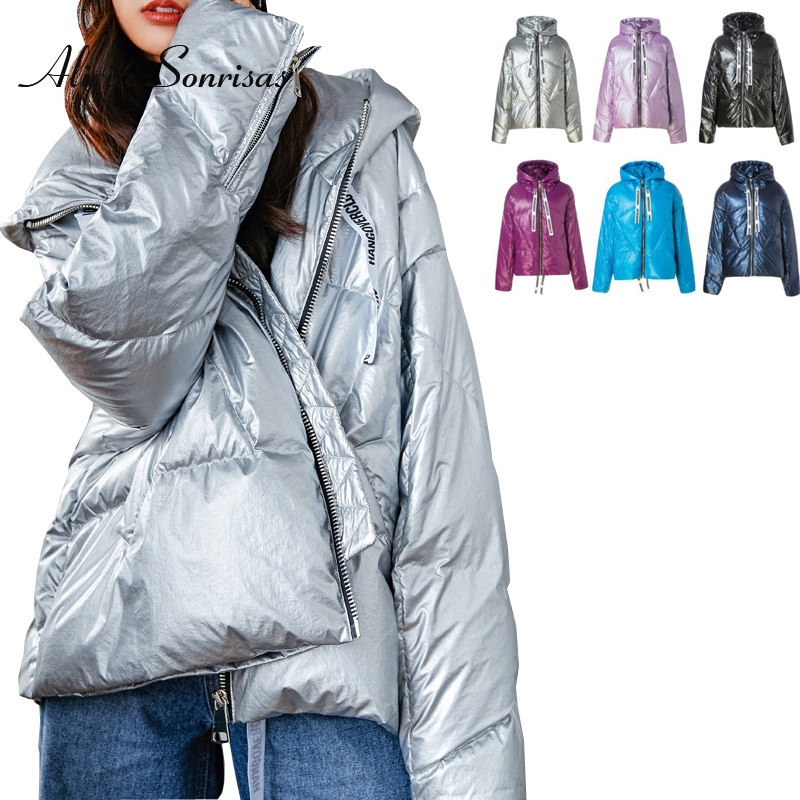 Women Winte   Down     Coats   White Duck   Down   Silver Jacket Women Glossy Warm Thick 6 Colors Silver Long Parka MF2021