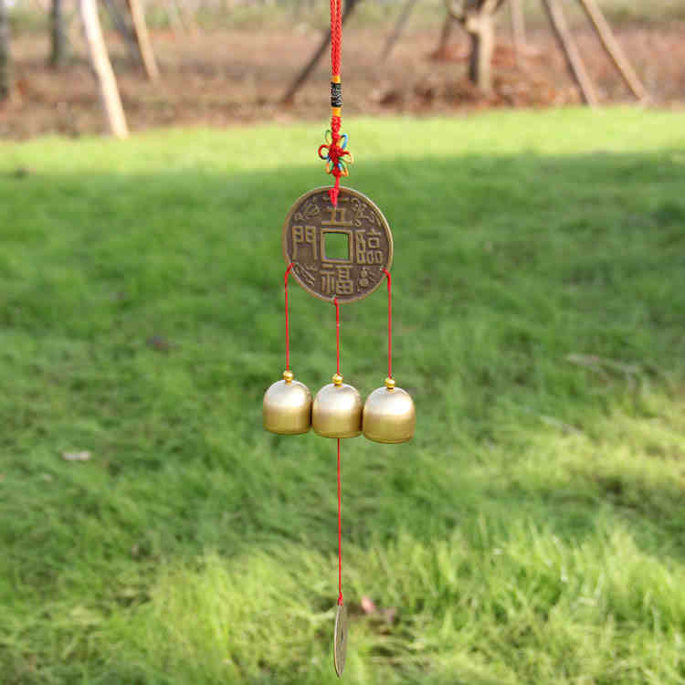 Creative Wall Hangings Chinese Knot 3 Brass Bells Chime Antique Imitation Shop Decor Gifts Business Flourishes Happiness Coming