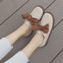 COOTELILI Spring Flat Shoes Women Oxfords Slip On Loafers Casual Leather Flats Womens shoes bow-knot Round Toe white beige 35-40