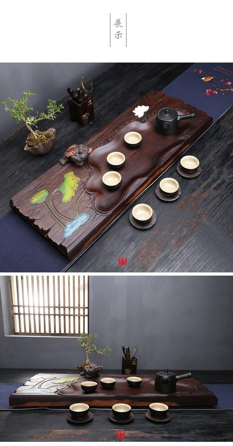 Mega Discount 90d9 Ebony Solid Wood Tea Tray Logs Full Wood Non
