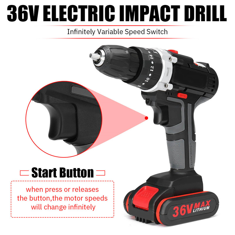 Professional 36V Electric Impact Cordless Drill 5200mAh 1/2 Li-ion Battery Wireless Rechargeable Home DIY Electric Drill ToolProfessional 36V Electric Impact Cordless Drill 5200mAh 1/2 Li-ion Battery Wireless Rechargeable Home DIY Electric Drill Tool