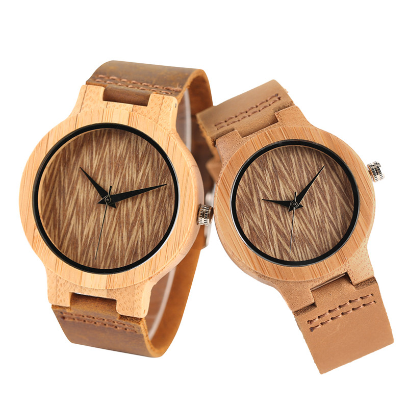 Nature Bamboo Quartz Couple Watches Creative Wave Dial Genuine Leather Band Men Women Wrist Watch New Fashion Lover's Gift