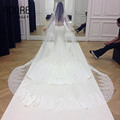 One layer 3 meters long formal accessories wedding veils for women dresses elegant lace edge tulle bridal mantilla with comb