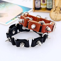 Europe And The United States Retro Fashion Leather Bracelet Punk Alloy Decorative Belt Buckle Men's Hand Rope Trend Wild Persona