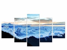 5 Pieces Free Shipping Wall Canvas Painting Cloud Bule Sky Landscape Printed Pictures Home Decoration Framed