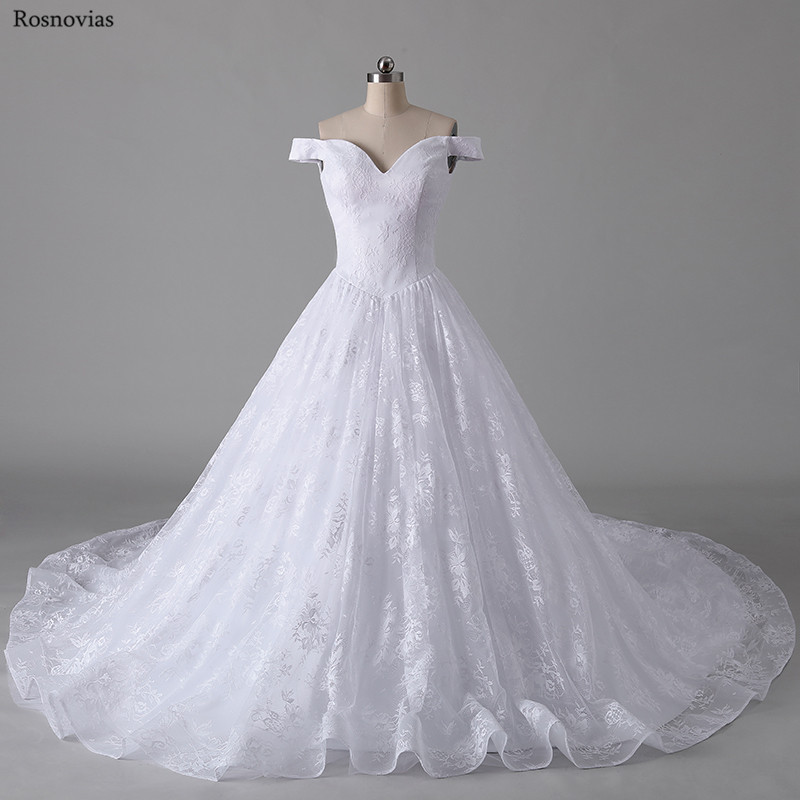 Luxury Off Shoulder Wedding Dresses 2019 V Neck Sleeveless Backless Long Train Lace Appliques Modest Cheap Bridal Gowns Custom