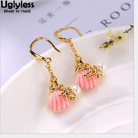 Uglyless Natural Pink Shell Earrings for Women Elegant Freshwater Pearls Fine Jewelry Gold Plated Real Solid 925 Silver Earrings