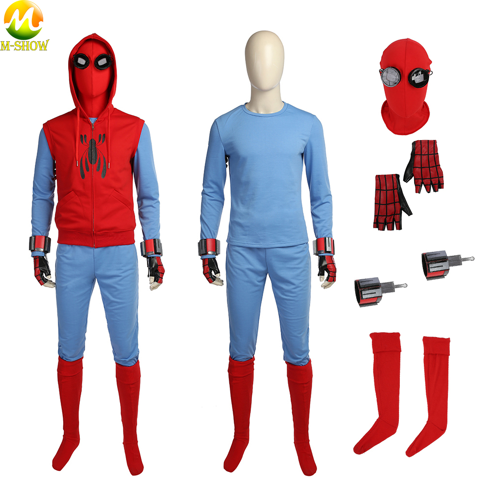 Spider-Man Homecoming Cosplay Costume Adult Superhero Peter Parker Halloween Cosplay Costumes Sweatshirt Custom Made