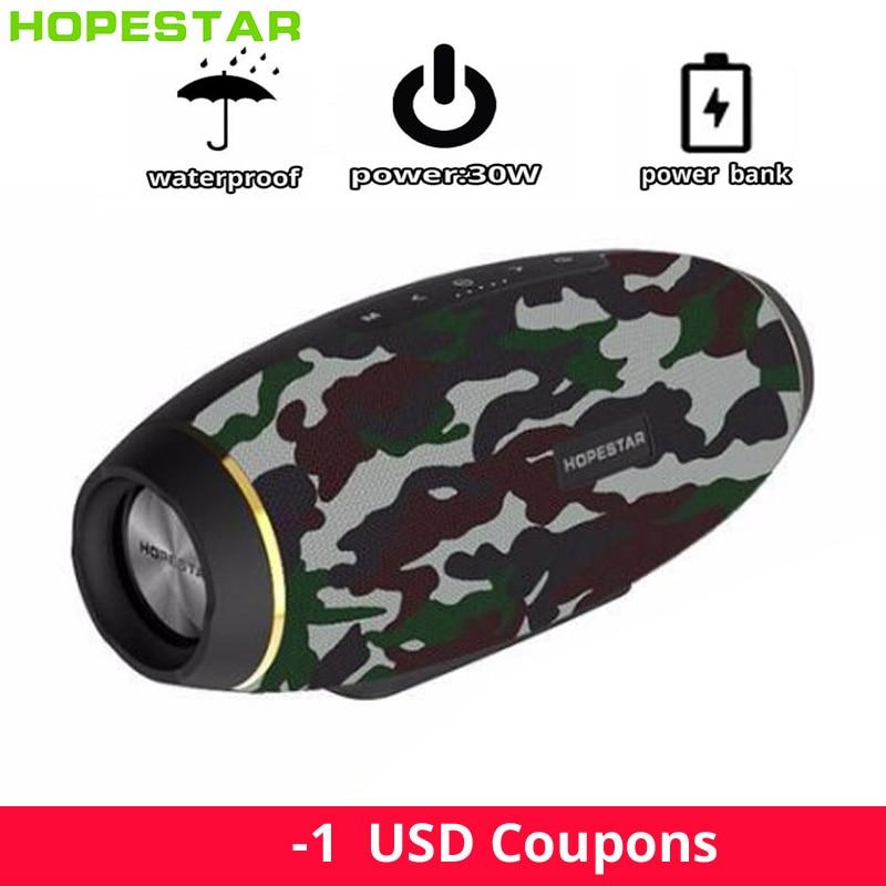 Hopestar Original portable subwoofer bluetooth speaker waterproof 30W outdoor wireless column 2.1 PC mp3 music center sound box