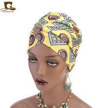 New women Multi Usage Turban Headband african printing long Head Wrap Extra muslim Wraps Hijab Scarf