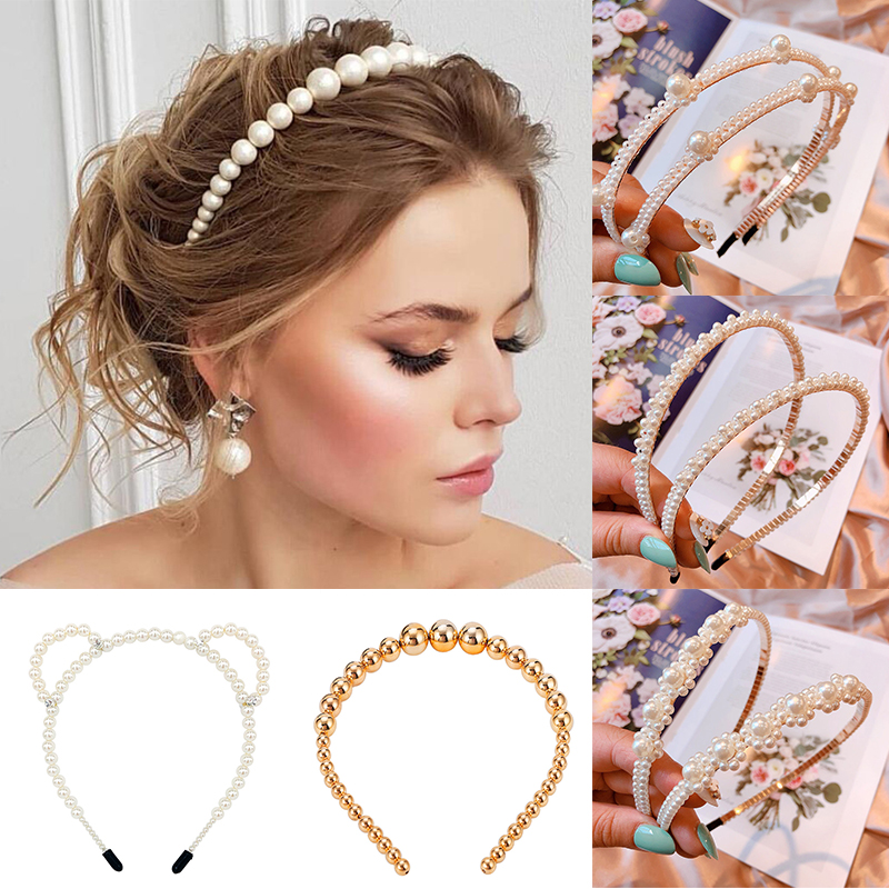Trendy Luxury crystal hairband for women big pearl headband personality fashion headdress girl party hairbow hair accessories