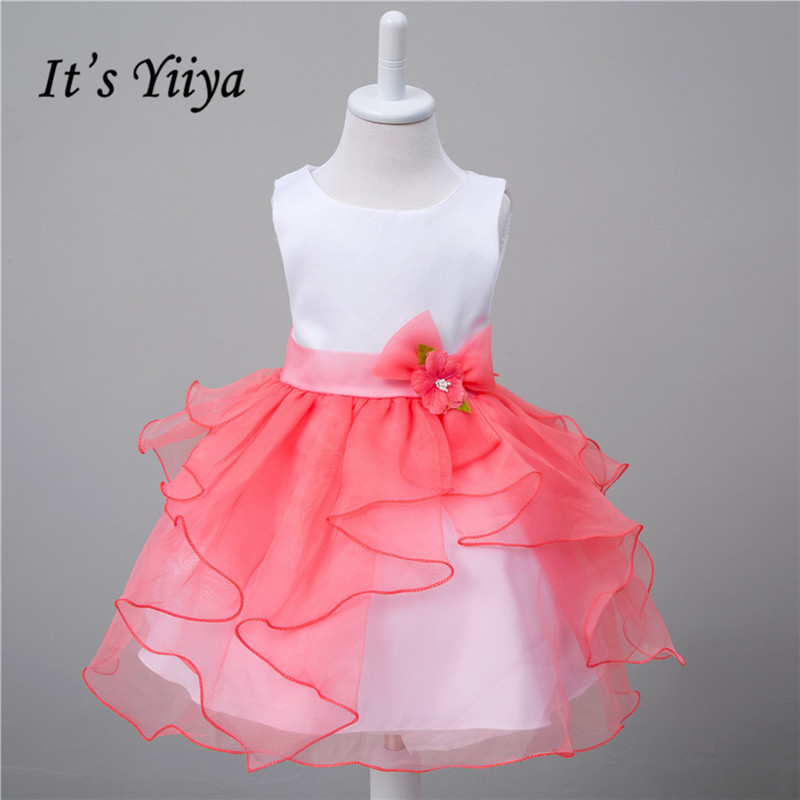 It's yiiya 100 Days   Flower     Girl     Dresses   Princess Ball Grown Sweet Patchwork Floral   Girls     Dress   L48