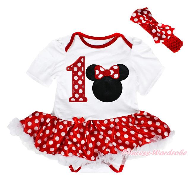 De aniversário Minnie 1º natal Bodysuit branco pontos vermelhos menina conjunto de vestido de bebê NB-18M