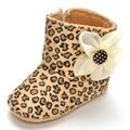 Winter baby girl shoes fashion leopard snow boots first walker flower newborn boot 2016 hot sale high quality toddler kids gift