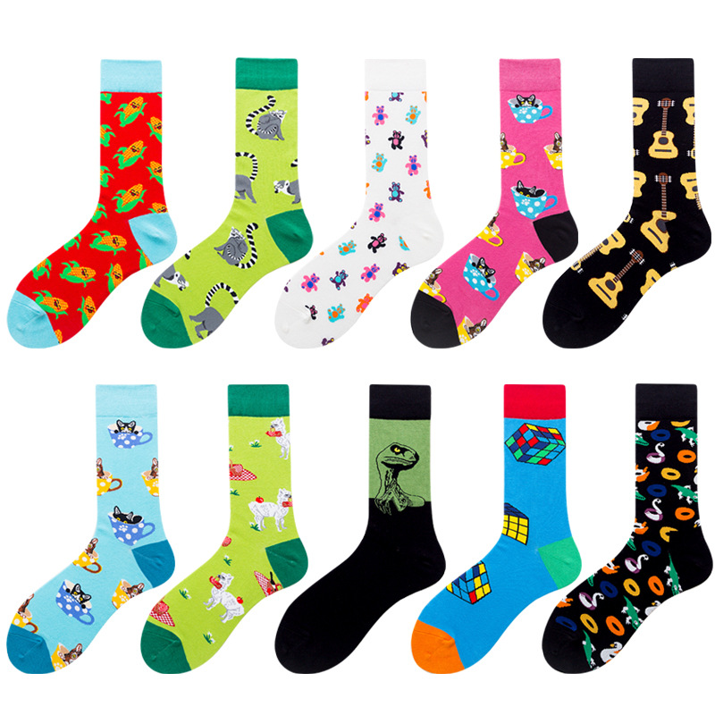 Crew Socks Alpaca Snake Harajuku Funny Skateboard Hip-Hop Cartoon-Animals Men Cat Mujer