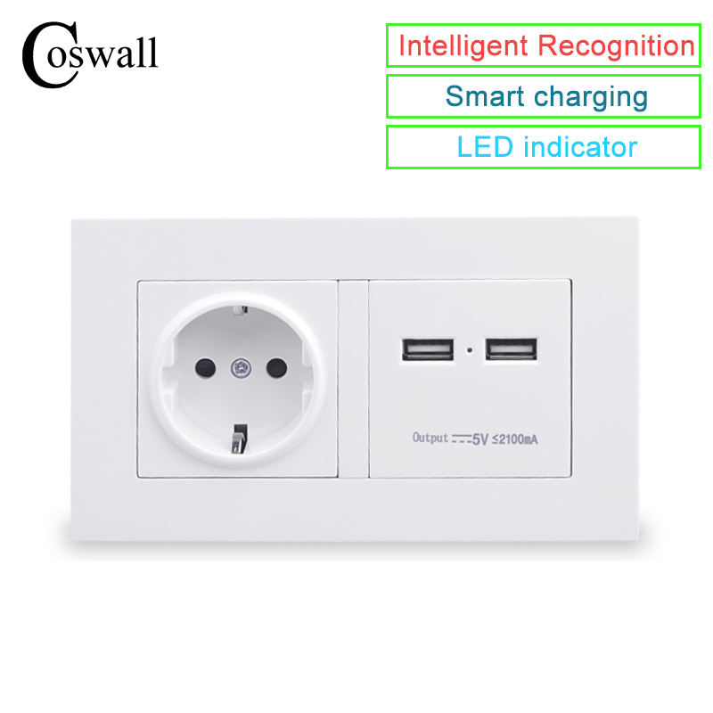 COSWALL 146 Type Wall Socket 16A EU Standard Power Outlet With Dual USB Smart Charger Port For Mobile 5V 2100mA Output PC Panel