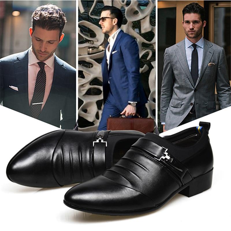 Taille Black Chaussures Plus Mens on 38 Haute Plat 915497 La Pour Bout D'affaires brown De Pointu Mariage Slip 45 Hommes Qualité Robe AqRBqaU