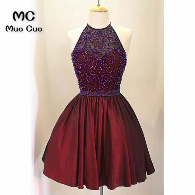 49c08210c348 Sparkly 2018 Burgundy Graduation Homecoming Dresses Short with Beaded  Halter Off Shoulder Cocktail Party Dress Short