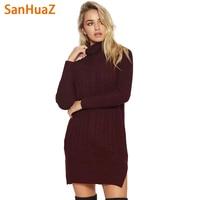 SanHuaZ Brand 2017 Autumn Winter Women S Sweaters Casual Turtleneck Long Sleeve Slim Split Women Long