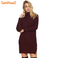 SanHuaZ Brand 2017 Autumn Winter Women S Sweaters Casual Turtleneck Long Sleeve Slim Split Women Long