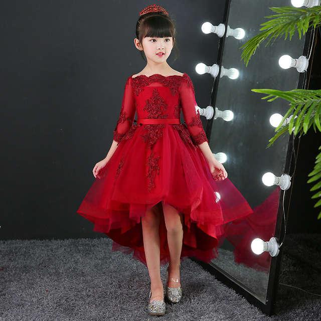 b439938bdced Vestidos de novia de encaje rojo para niñas Glizt vestidos largos de encaje  para fiesta de cumpleaños de princesa vestido de primera comunión para ...