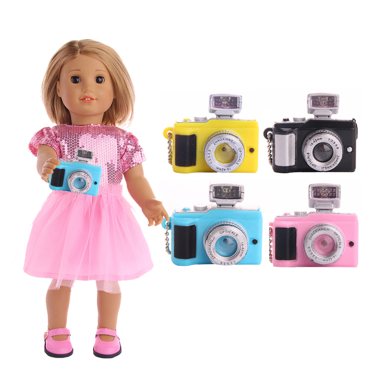 4 Colors Camera Toy Doll Accessories Doll Accessories Suitable For 18 Inch American Girl Doll [mmmaww] christmas costume clothes for 18 45cm american girl doll santa sets with hat for alexander doll baby girl gift toy