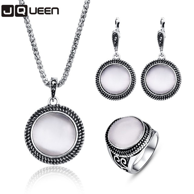 Big Round White Natural Stone Opal Pendant Necklace/Earrings/Ring Jewelry Set Fo