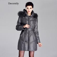 DECENTLY 2015 New arrival Woman coat Winter jacket women parka Fox Fur Down jacket Clothes Large Size RUS Free Shipping 2C1668