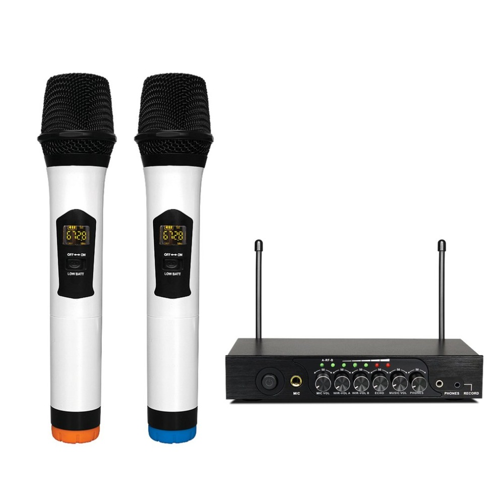 Professional Dual Wireless Microphone System Stage Performances Wireless Microphone Handheld Wireless Dynamic Microphone ugx88 professional one to four wireless microphone professional stage performance meeting the sound box condenser microphone