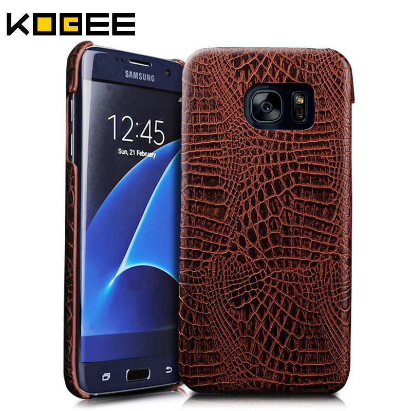 NKOBEE Luxury For Samsung Galaxy S7 Edge Case 3D Crocodile Skin Leather Case Cover For Samsung