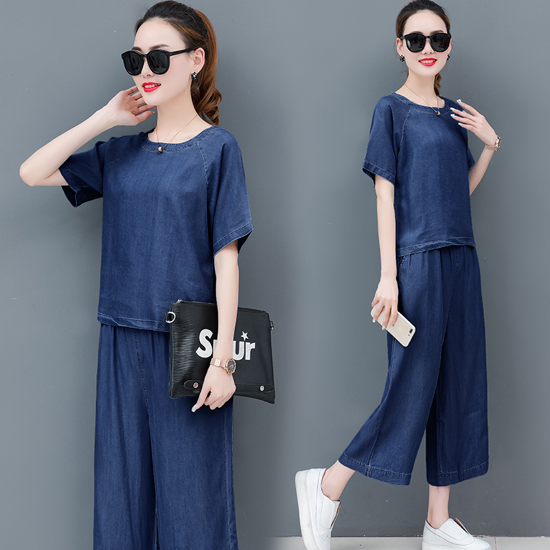Jeans 2 Piece Sets Denim Women Plus Size big Blue Loose Pant suits and Top Two Pcs 2019 Summer Outfit Co ord Set Solid Clothing