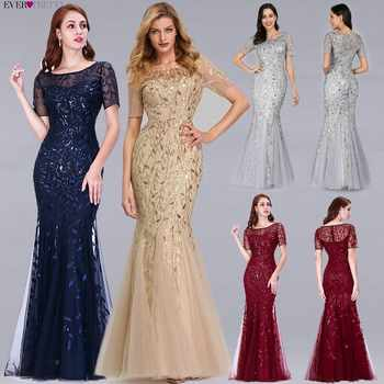 Formal Evening Dresses 2019 Ever Pretty New Mermaid O Neck Short Sleeve Lace Appliques Tulle Long Party Gowns Robe Soiree Sexy - DISCOUNT ITEM  30% OFF All Category