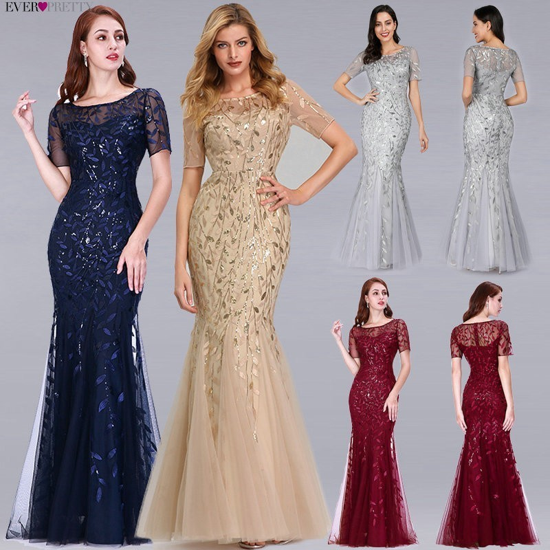Vestidos de Noche formales 2019 siempre bonita nueva sirena cuello redondo manga corta Apliques de encaje tul vestidos largos de fiesta bata Soiree sexy