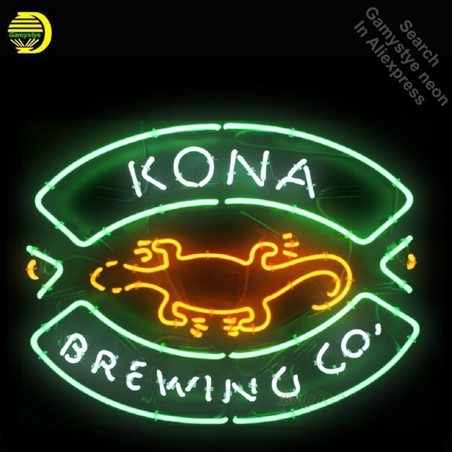 Neon Sign for Kona Brewin neon bulb Sign Beer Pub Decorative Neon Advertisement Sign Garage Lighting for Store Lighted Signs
