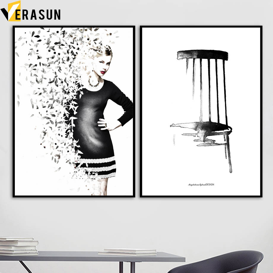 Cool Us 3 0 50 Off Watercolor Flower Girl Chair Wall Art Canvas Painting Nordic Posters And Prints Black White Wall Pictures For Living Room Decor In Machost Co Dining Chair Design Ideas Machostcouk