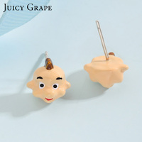 Juicy Grape Individual Creative 925 Silver Needle Mini enamel Fairy Tales Boy Ear Nails Cute Cartoon Girl Heart Earrings