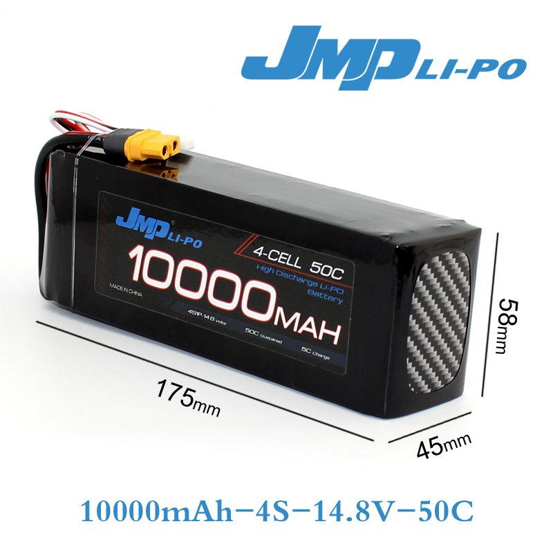 1pcs JMP Lipo Battery 4S 10000mAh Lipo 14.8V Battery Pack 50C Battery for Helicopters RC Models akku Li-polymer Battery h energy 2200mah 7 4v 50c lipo battery