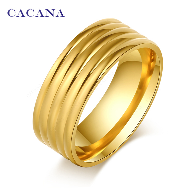 CACANA Titanium Stainless Steel Rings For Women Shining Flow Line Fashion Jewelr