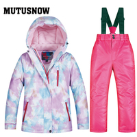 2019 Fleeced Girls Ski Suit Waterproof Kids Ski Jacket Ski Pants Thermal Winter Outdoor Skiing Snowboarding Clothing 30 degrees