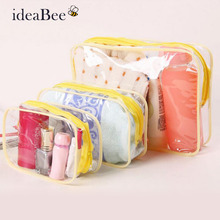 ideaBee Women Fashion Transparent Thicken PVC Waterproof Cosmetic Bag Three-piece  Cosmetic Bag Travel Admission Package