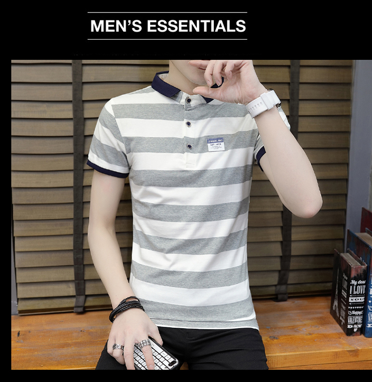New summer high quality striped short sleeve polo shirt men brand clothing fashion Korean casual slim fit male camisa 9018Z 14