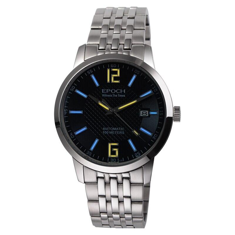 (NOUVEAU) EPOCH 6026G-B bracelet en acier étanche 50 m tritium lumineux mens affaires ultra-mince automatique montre-bracelet mécanique