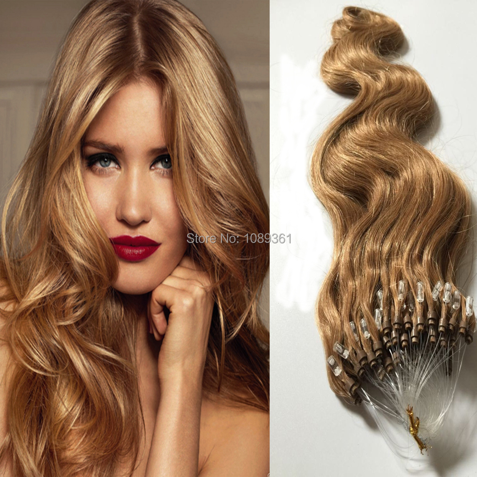 Hot Queen Micro Loop Hair Extension Body Wave 27 Honey Blonde 6a