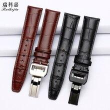 Cinturón de piel con hebilla plegable para hombres, pulsera para IWC, cadena de siete días de tiempo portugués IW371446 pilot series IW377709, Correa